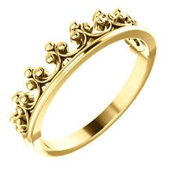 Stackable Crown Ring - Sterling Silver, 14k Gold (Y, W or R), Platinum