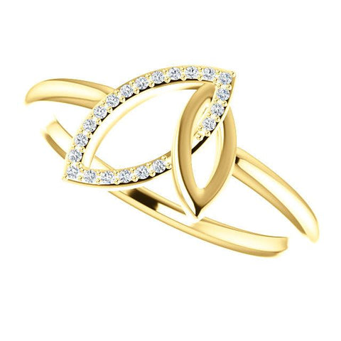 0.05 CTW Diamond Double Leaf Ring - Sterling Silver, 14k Gold (Y, W or R), Platinum