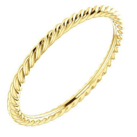Skinny Rope Band Stackable Ring - 14k, 10k, 18k Gold (Y, W or R), Platinum, Sterling Silver