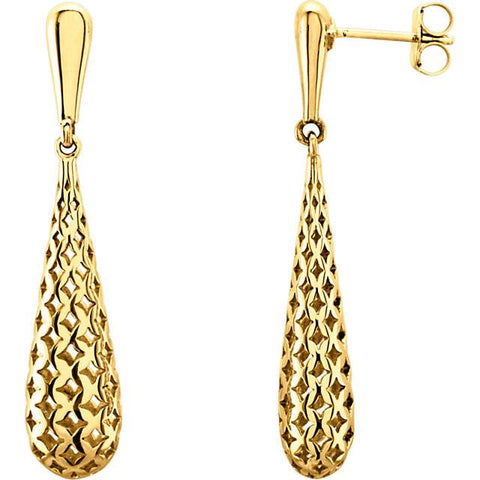 Pierced Cutout Teardrop Earrings - 14k Gold (Y, W, or R)