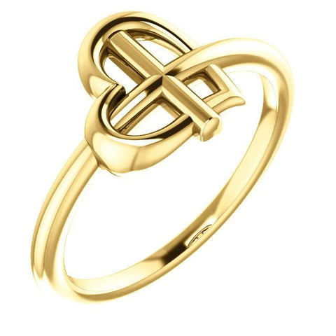 Heart Cross Ring - Sterling Silver, 14k Gold (Y, W or R), or Platinum