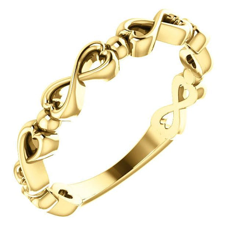 Infinity-Inspired Heart Ring - 14k Gold (Y, W or R), Platinum, Sterling Silver