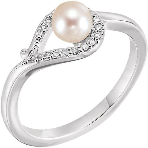 Freshwater Cultured Pearl & .07 CTW Diamond Bypass Ring - 14k Gold (Y, W or R), Platinum, Sterling Silver