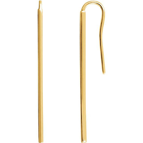 Long Vertical Bar Earrings - 14K Gold (Y, W or R), or Sterling Silver