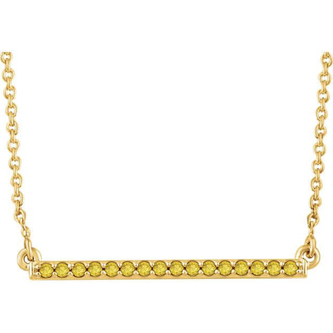 "1/6 CTW Yellow Diamond Bar Necklace  16-18"" - 14k Yellow Gold"