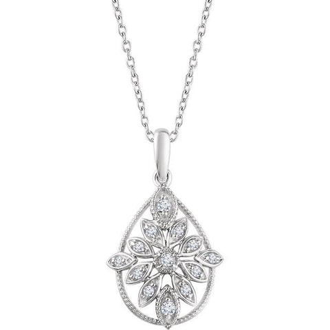 Sterling Silver 1/6 CTW Diamond Granulated Filgree Necklace