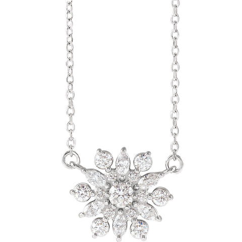 "1/2 CTW Diamond Vintage-Inspired 16"" Necklace - 14k Gold (Y, W or R), or Platinum, Sterling Silver"