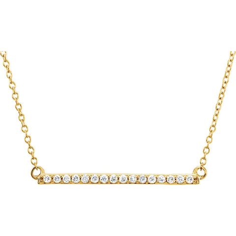 "1/6 CTW Diamond Bar Necklace  16-18"" - 14k Gold (Y, W or R)"