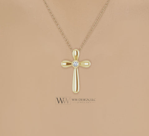 3mm Diamond Cross Necklace Genuine F+ VS 14k, 18k SOLID Gold (Y, W, R), Platinum, Sterling Silver 25mmx17mm Cross Pendant Religious Jewelry WWDesignJewelers.com
