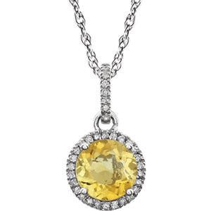 "Citrine & 1/10 CTW Diamond Necklace 18"" - 14k White gold"