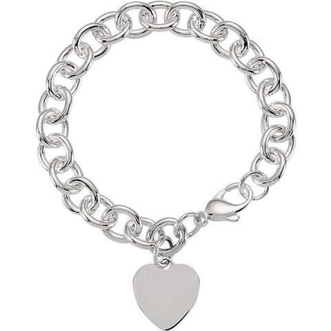7.5x9.75mm Cable Bracelet With Heart - Sterling Silver