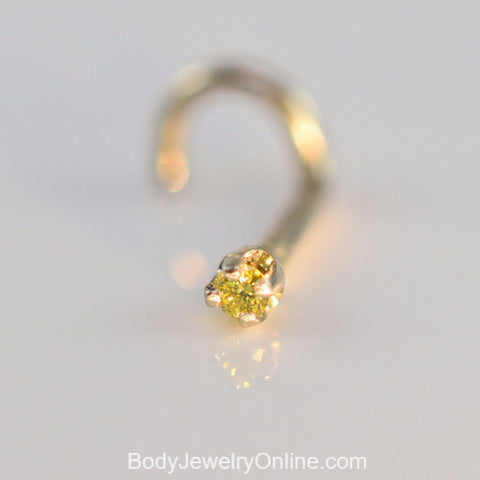 Canary Yellow Diamond Nose Ring