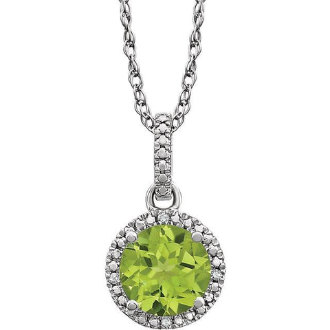 "Peridot & .01 CTW Diamond 18"" Necklace - Sterling Silver"
