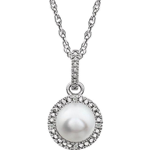 "Freshwater Cultured Pearl & .01 CTW Diamond 18"" Necklace - Sterling Silver"