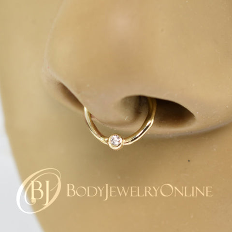 824c379f0 DIAMOND Septum Nose Ring Hoop 18 gauge - 14k SOLID Gold - Organic Shape 14k  Yellow