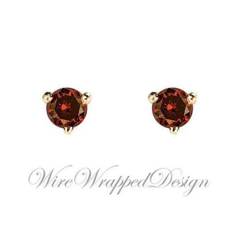 PAIR Genuine Dark ORANGE DIAMOND Earring Studs 2.5mm 0.12tcw Martini 14k Solid Gold (Yellow, Rose, White) Platinum Silver Cartilage Helix