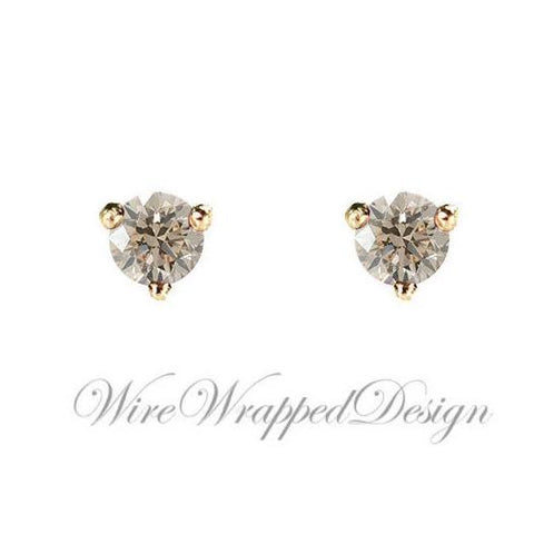 PAIR Genuine Top Light BROWN DIAMOND Earrings Studs 3mm 0.2tcw Martini 14k Solid Gold (Yellow, Rose, White) Platinum Silver Cartilage Tragus