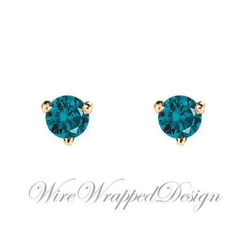 PAIR Genuine Teal BLUE DIAMOND Earrings Studs 2.5mm 0.12tcw Martini 14k Solid Gold (Yellow, Rose, White) Platinum Silver Cartilage Helix
