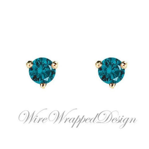 PAIR Genuine Teal BLUE DIAMOND Earrings Studs 3mm 0.2tcw Martini 14k Solid Gold (Yellow, Rose, White) Platinum Silver Cartilage Helix Tragus