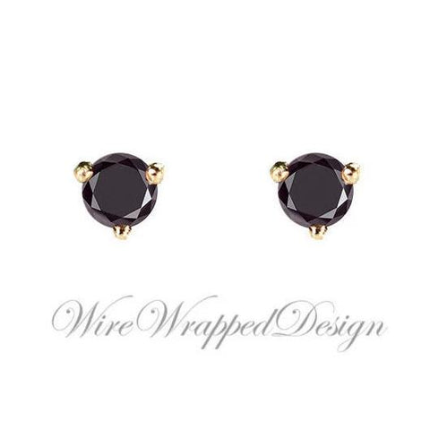 PAIR Genuine BLACK DIAMOND Earrings Studs 2.5mm 0.14tcw Martini 14k Solid Gold (Yellow, Rose or White) Platinum, Silver Cartilage Helix