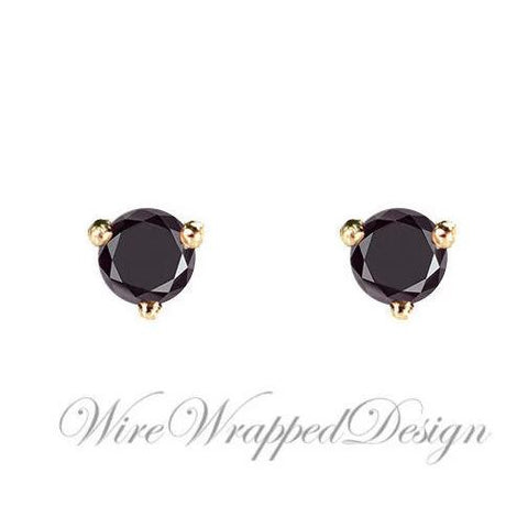 PAIR Genuine BLACK DIAMOND Earrings Studs 3mm 0.24tcw Martini 14k Solid Gold (Yellow, Rose or White) Platinum, Silver Cartilage Helix Tragus
