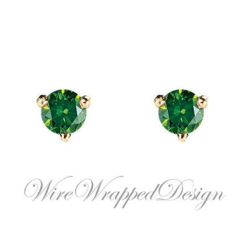 PAIR Genuine Dark GREEN DIAMOND Earrings Studs 2.5mm 0.12tcw Martini 14k Solid Gold (Yellow, Rose,White) Platinum Silver Cartilage Helix