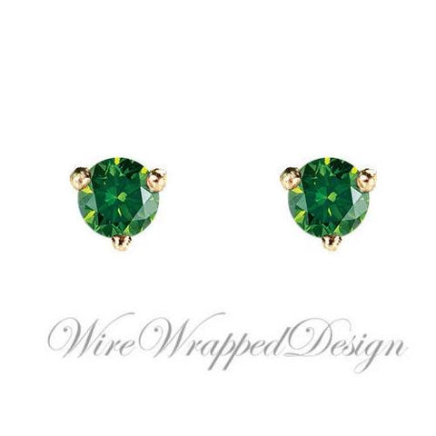 PAIR Genuine Dark GREEN DIAMOND Earrings Studs 3mm 0.2tcw Martini 14k Solid Gold (Yellow, Rose,White) Platinum Silver Cartilage Helix Tragus