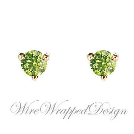 PAIR Genuine GREEN DIAMOND Earrings Studs 2.5mm 0.12tcw Martini 14k Solid Gold (Yellow, Rose, White) Platinum, Silver Cartilage Helix Tragus