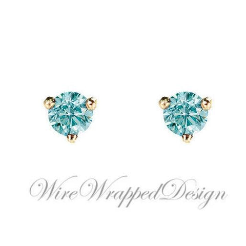 PAIR Genuine Aqua BLUE DIAMOND Earrings Studs 2.5mm 0.12tcw Martini 14k Solid Gold (Yellow, Rose, White) Platinum Silver Cartilage Helix