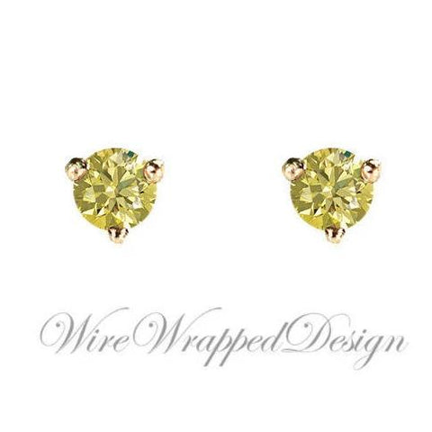 PAIR Genuine CANARY Yellow DIAMOND Earrings Studs 2.5mm 0.12tcw Martini 14k Solid Gold Yellow/Rose/White Platinum Silver Cartilage Helix