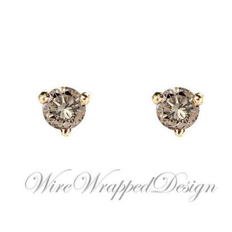 PAIR Genuine CHAMPAGNE DIAMOND Earrings Studs 2.5mm 0.12tcw Martini 14k Solid Gold (Yellow, Rose, White) Platinum Silver Cartilage Tragus