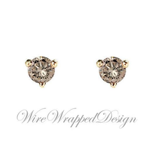 PAIR Genuine CHAMPAGNE DIAMOND Earrings Studs 3mm 0.2tcw Martini 14k Solid Gold (Yellow, Rose, White) Platinum Silver Cartilage Tragus Brown