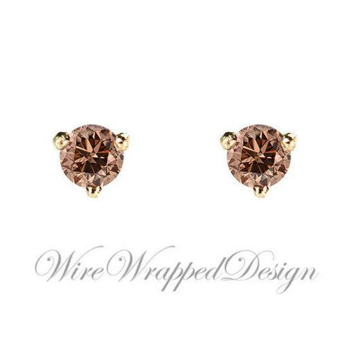 PAIR Genuine COGNAC DIAMOND Earrings Studs 3mm 0.2tcw Martini 14k Solid Gold (Yellow, Rose, White) Platinum Silver Cartilage Tragus Brown