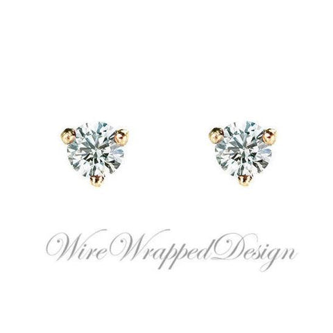 Genuine F+ VS DIAMOND Earring Studs 2.5mm 0.12tcw (each 0.06cts) Post w/ 14k Solid Gold (Yellow, Rose, White)Silver, Platinum Lobe Cartilage
