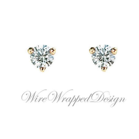 Genuine F+ VS DIAMOND Earring Studs 3mm 0.20tcw (each 0.1cts) Post w/ 14k Solid Gold (Yellow, Rose, White), Silver, Platinum Lobe Cartilage