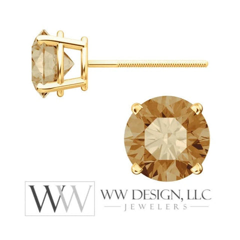 Genuine 2 ctw Champagne DIAMOND Earring Studs 6.5mm 2 ctw (each 1ct) Post w/ 14k Solid Gold (Yellow, Rose, White)Silver Platinum Brown Studs