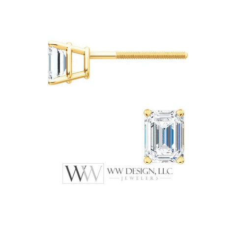 DIAMOND Earring Studs Emerald Cut 3.75 x 2.75mm 0.4 ctw (2x 0.2cts) Genuine GHI VS Post w 14k Solid Gold (Yellow Rose White) Silver Platinum