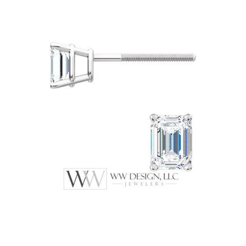 DIAMOND Earring Studs Emerald Cut 4 x 3mm 0.5 ctw (each 0.25cts) Genuine GHI VS Post w 14k Solid Gold (Yellow Rose White) Silver Platinum