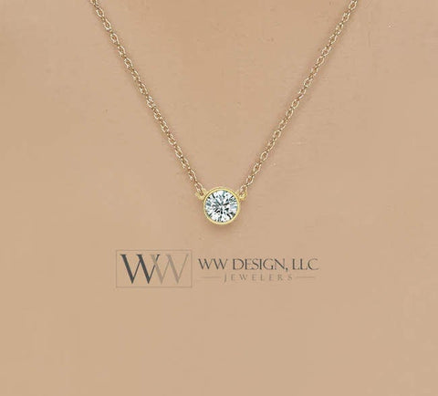 Diamond Necklace 0.25 ct F+ VS Natural 4.1mm 14k Gold (Y, W, R), Platinum, Sterling Silver Bezel Solitaire Pendant Jewelry Christmas Gift