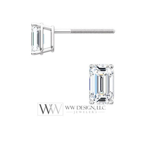 DIAMOND Earring Studs Emerald Cut 4.5 x 3mm 0.66 ctw (each 0.33cts) Genuine GHI VS Post w 14k Solid Gold (Yellow Rose White) Silver Platinum