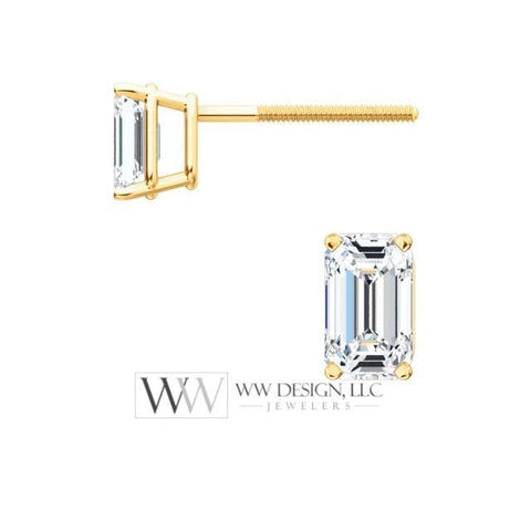 DIAMOND Earring Studs Emerald Cut 5 x 3.5mm 0.72 ctw (each 0.37cts) Genuine GHI VS Post w 14k Solid Gold (Yellow Rose White) Silver Platinum