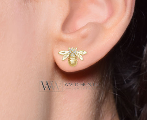 Bumble Bee Diamond 0.06 ctw Stud Earrings - 14k Solid Gold, 14k Rose Gold, 14k White Gold Christmas 12.2mm x 8.4mm Honey Bee Diamond Studs