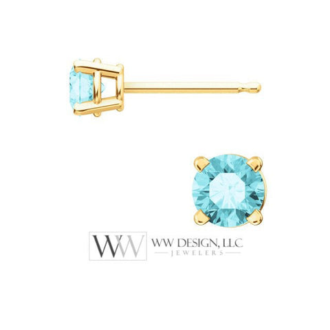 Blue Zircon Earring Studs 4mm 0.8 ctw (each 0.4cts) Post w/ 14k Solid Gold (Yellow, Rose, White)Silver, Platinum Studs December Birthstone