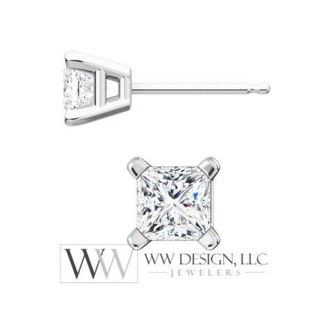 DIAMOND Earring Studs Princess Square Cut 4x4mm 0.78 ctw (each 0.39cts) Genuine F+ VS Post w 14k Solid Gold (Yellow Rose White) Platinum