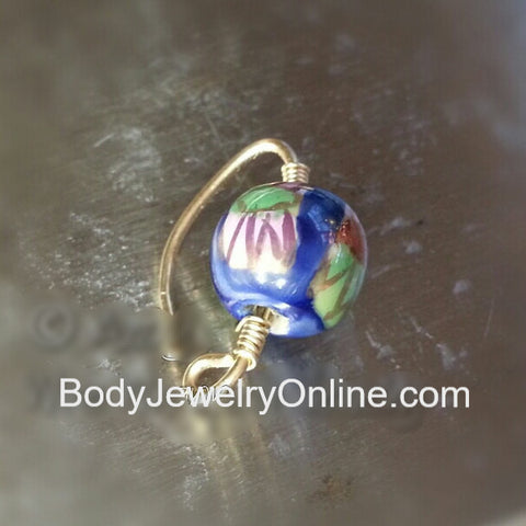 Navel Belly Ring Hoop - Blue Ceramic Flower Bead - Solid / Fill 14k Yellow, Pink, White Gold, Sterling Silver, 20 gauge 20g