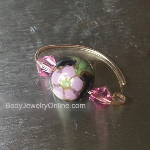 Navel Belly Ring Hoop Black Ceramic Flower Bead w/ Swarovski Crystal Solid / Fill 14k Yellow, Pink, White Gold, Sterling Silver, 20 gauge