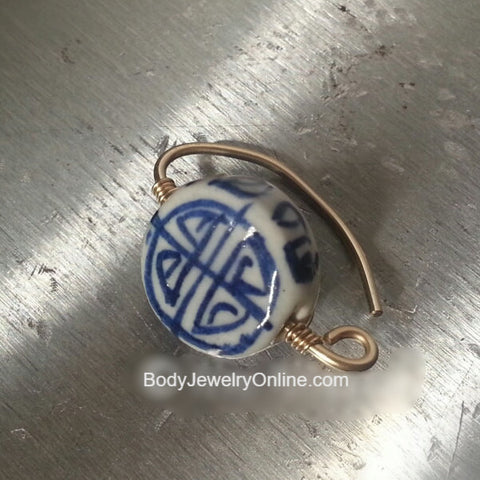 Navel Belly Ring Hoop - Ceramic Lentil Painted Blue Bead - Solid / Fill 14k Yellow, Pink, White Gold, Sterling Silver, 20 gauge 20g