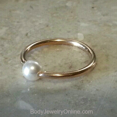 Captive Bead Ring w/ Swarovski Small Pearl - 14 ga Hoop - 14k Gold (Y, W, or R), Sterling Silver, or Platinum