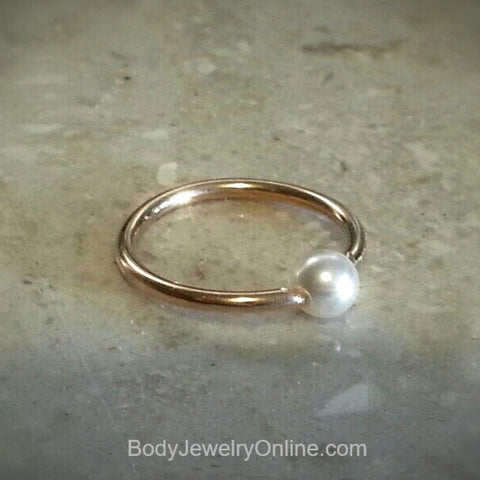 4mm Freshwater Pearl Captive Bead Ring - 14ga Hoop  - 14k Gold (Y, W, or R), Sterling Silver, or Platinum