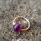 Amethyst Stone Captive Bead Ring - 16 ga Hoop  - 14k Gold (Y, W, or R), Sterling Silver, or Platinum